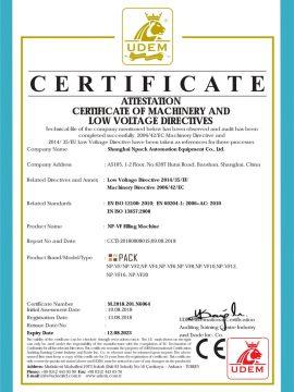 CE-certifikat för fyllningsmaskin